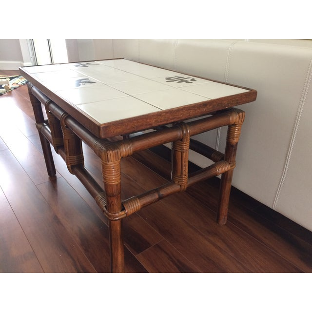 Ficks Reed Mid Century Bamboo & Tile Table - Image 7 of 9