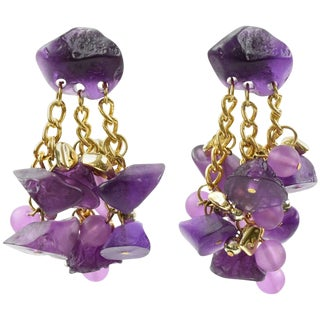 Oversized Dangling Chandelier Drop Lucite Pierced Earrings Purple Pebbles For Sale