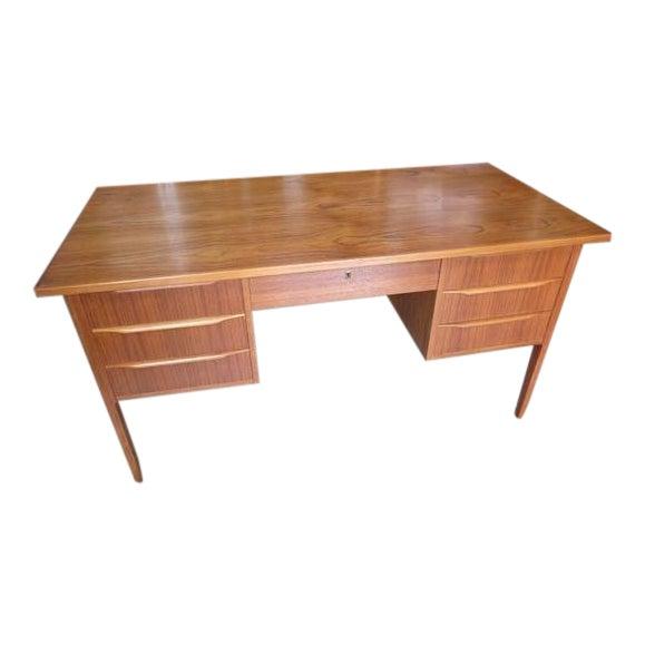 1960s Danish Modern Teak Desk With Bookshelf Back For Sale