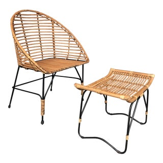 Stick Reed Rattan and Iron Chair and Ottoman Set For Sale