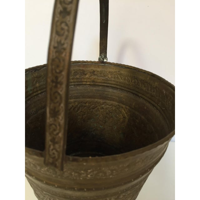 19th century Anglo Raj Mughal bronzed metal copper vessel water or milk bucket. Originally used to carry water, this hand-...
