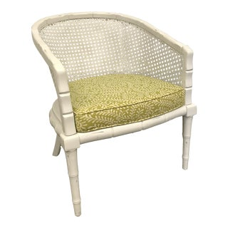 Faux Bamboo Chair W/ Cane Back For Sale