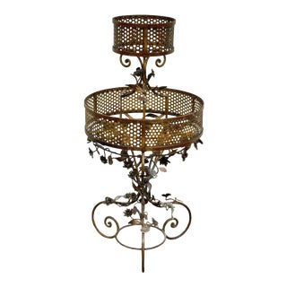 Vintage Italian Hollywood Regency Gold Tole Plant Stand