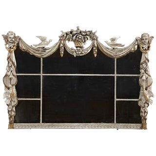 Italian Horizontal Silver Leafed Overmantel Mirror For Sale