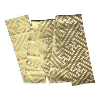 Japanese Geometric White and Gold Silk Obi