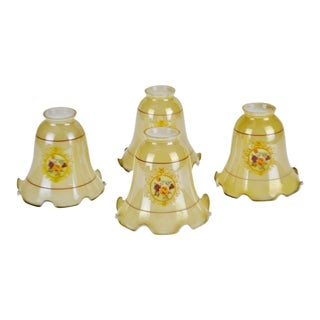 Vintage Victorian Style Iridescent Tulip Chandelier Shades - Set of 4 For Sale