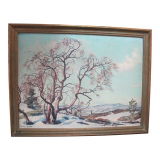 Karl Ouren Antique Mountain Birch Snowy Fann Landscape Painting For Sale