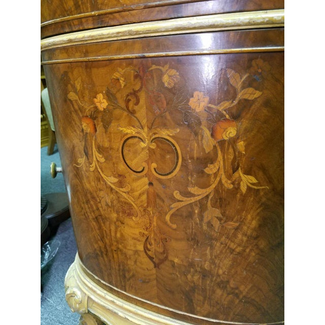 Wood Antique Louis XV Marquetry Inlaid Commode Nightstand For Sale - Image 7 of 8