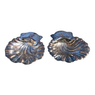 Late 19th C. Silver on Copper Scalloped Swan Detail Cocktail Dishes - a Pair For Sale