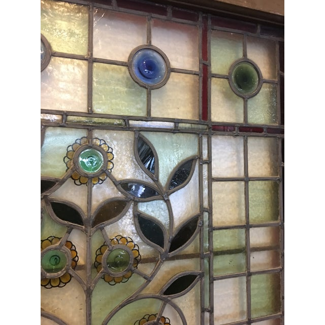 Beautiful 1920's English Stained Glass Door For Sale - Image 9 of 11