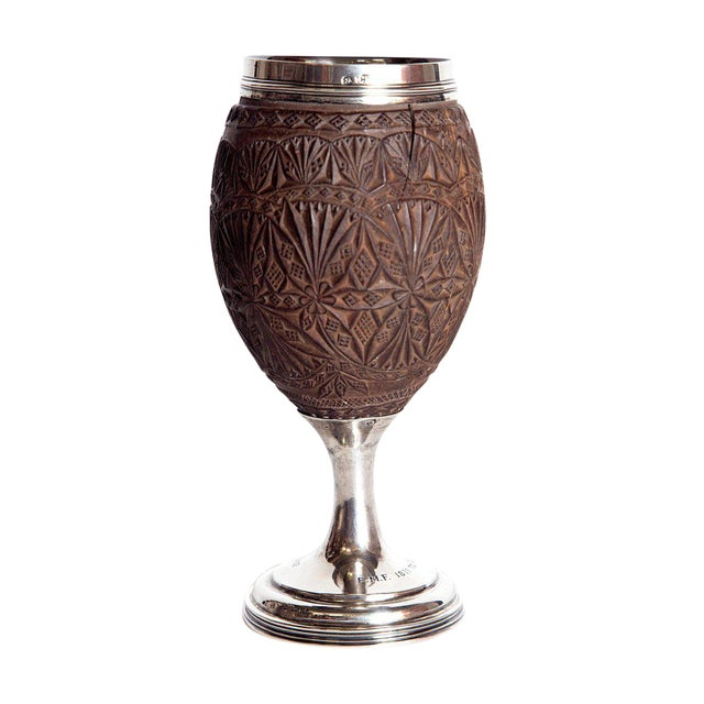 Late 18th Century Geroge III Coconut & Silver Goblet by Charles Hougham For Sale