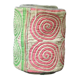 Vintage Green and Pink Asian Quilted Colorful Decorative Trims For Sale