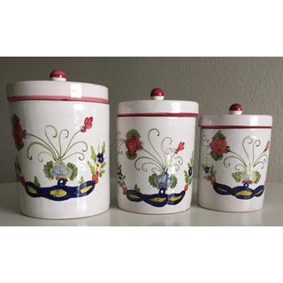 """Italian Faience """"Blue Carnation"""" Canisters - Set of 3 Preview"""
