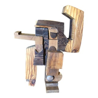 Brutalist Figurative Wood Sculpture For Sale