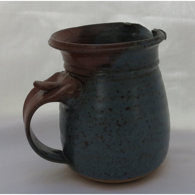 Arts & Crafts Earthenware Blue Pottery Pitcher For Sale - Image 3 of 5
