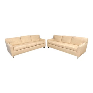 Custom Designed Nubby Cotton Three Seater Sofas - a Pair For Sale