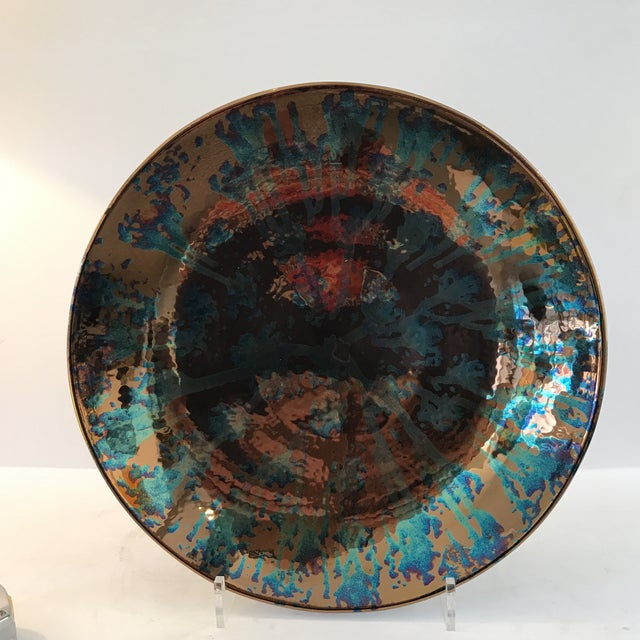Artist Blue and Bronze Abstract Decorative Platter - Image 2 of 8
