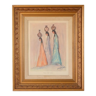 """1970s """"Indian Water Maidens"""" Figurative Lithograph by Ted Degrazia, Framed For Sale"""
