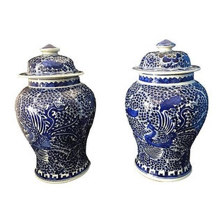 "Blue & White Lidded Phoenix Ginger Jars - a Pair 14"" H Preview"