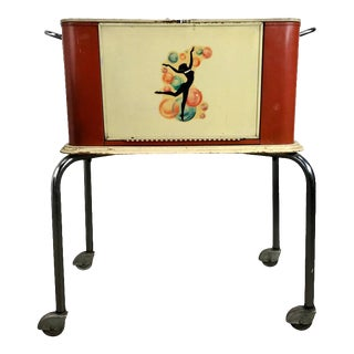 1940s Art Deco Portable Rolling Dry Bar For Sale