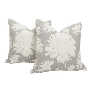 Abstract Peony Splash Floral Linen Pillows, a Pair For Sale