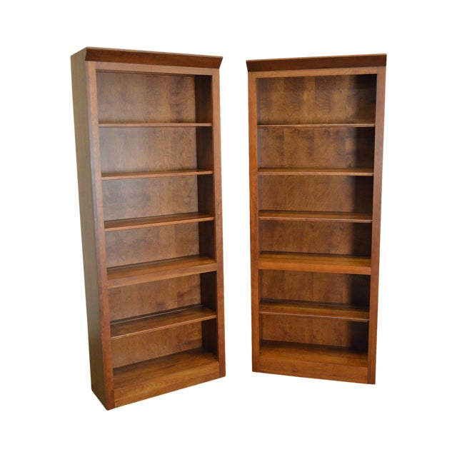 Ethan Allen American Impressions Solid Cherry Open Bookcases - A Pair For Sale