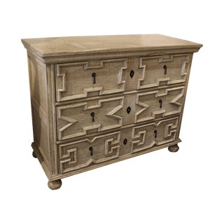 Shabby Chic William and Mary Style Off-White Painted Chest For Sale
