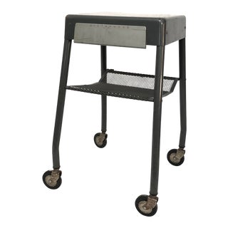 20th Century Industrial Dictaphone Rolling Cart Side Table For Sale