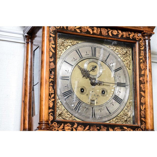 D. Listaungon English Mahogany Inlaid Clock, 18th C. For Sale - Image 4 of 9