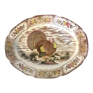 Antique Transferware Hand Colored Turkey Stoneware Platter For Sale