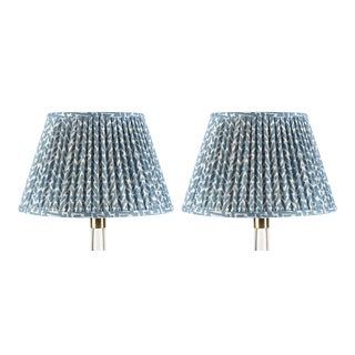 Fermoie Gathered Cotton Lampshade in Blue Rabanna, 18 Inch, Set of 2 For Sale