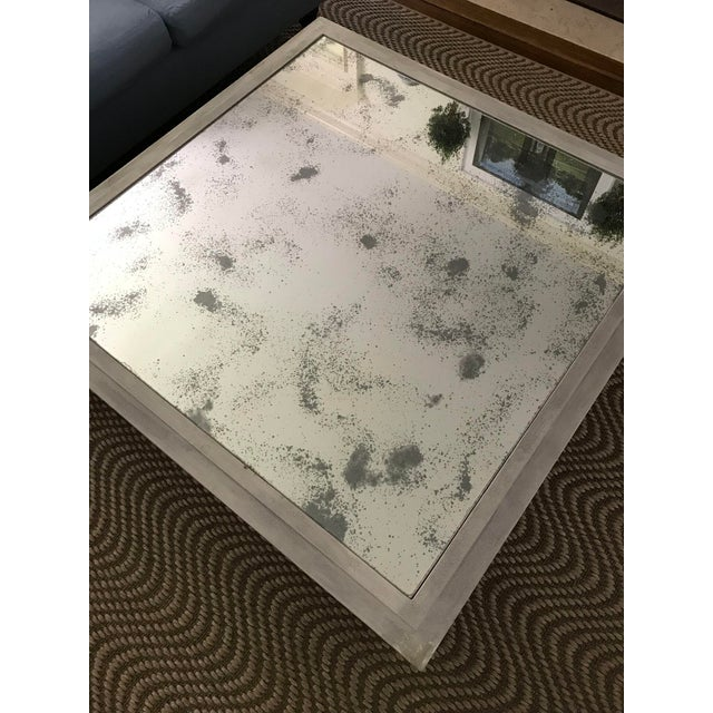 X Base Mirrored Top Wood Coffee Table - Image 4 of 8