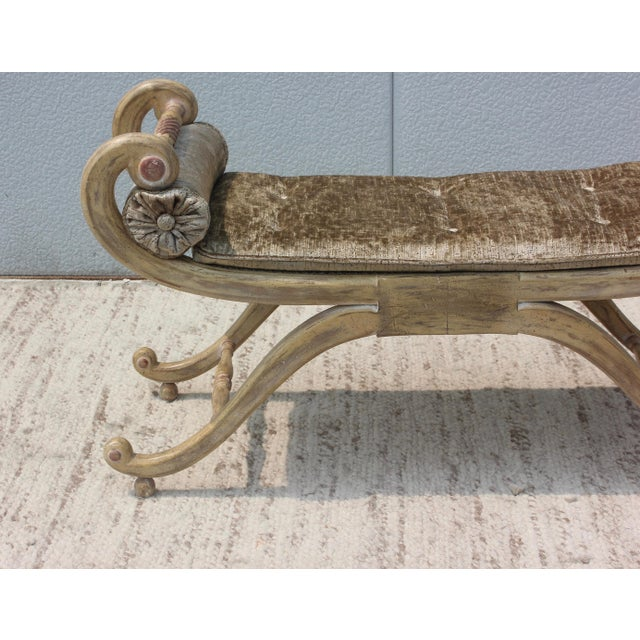 1940s French Scroll Arm Bench For Sale - Image 10 of 13