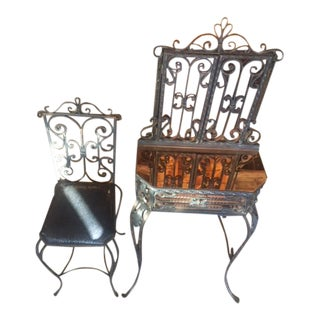 1920's-40's Traditional Mirrored Wrought Iron Vanity With Chair - 2 Pieces For Sale