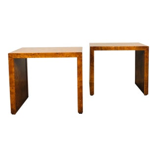 1970s Mid Century Modern Milo Baughman Burl Wood Side Tables - a Pair For Sale