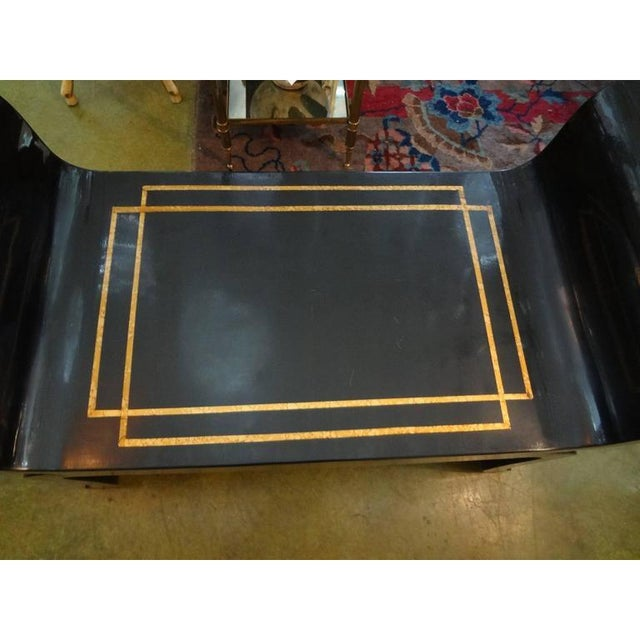 1960s 1960's Vintage James Mont Style Hollywood Regency Black Lacquered Benches- A Pair For Sale - Image 5 of 10