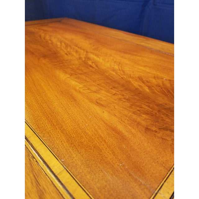 Gold Italian Neo Classic Parquetry Inlaid Writing Table. For Sale - Image 8 of 9