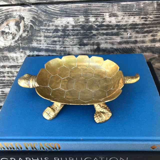 Large Vintage Solid Brass Turtle Catchall Tray Trinket Dish For Sale - Image 10 of 10