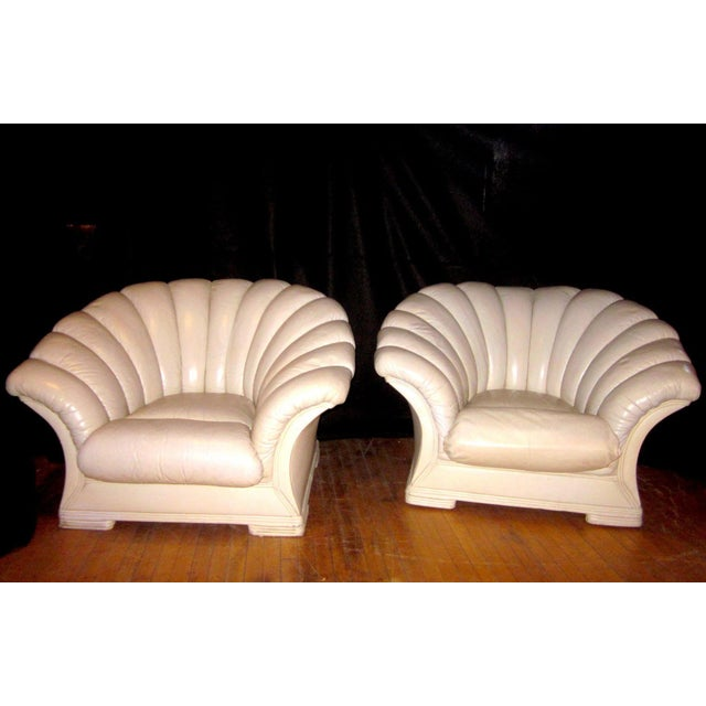 1930s Vintage French Art Deco Scalloped Back Clamshell Leather Lounge Chair- a Pair For Sale - Image 4 of 11