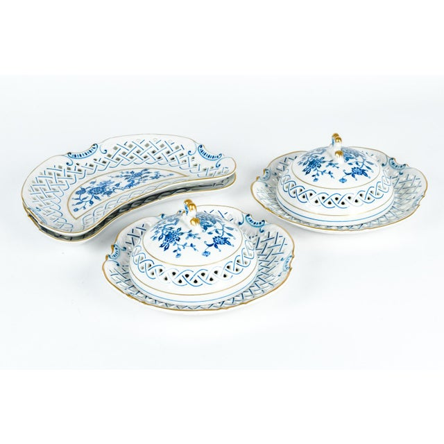 Vintage set of four pieces English porcelain table serveware set. All in excellent condition. The covered dome piece...