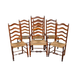 Antique Cherry Rush Seat Ladder Back Dining Chairs - Set of 6