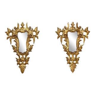 Antique Italian Baroque Carved Giltwood Mirrors - a Pair For Sale