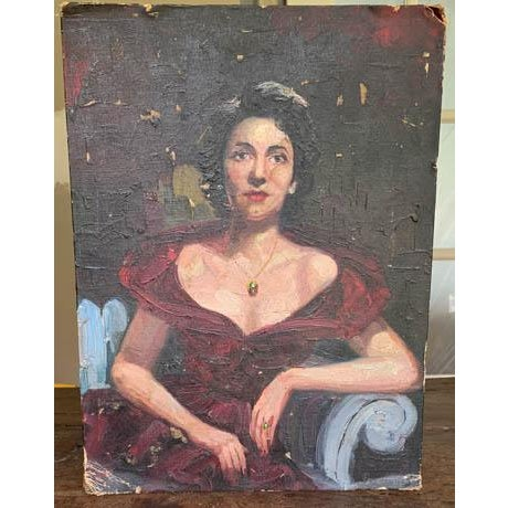 Textile 1940's Lady Painting, Portrait - Red Velvet For Sale - Image 7 of 7