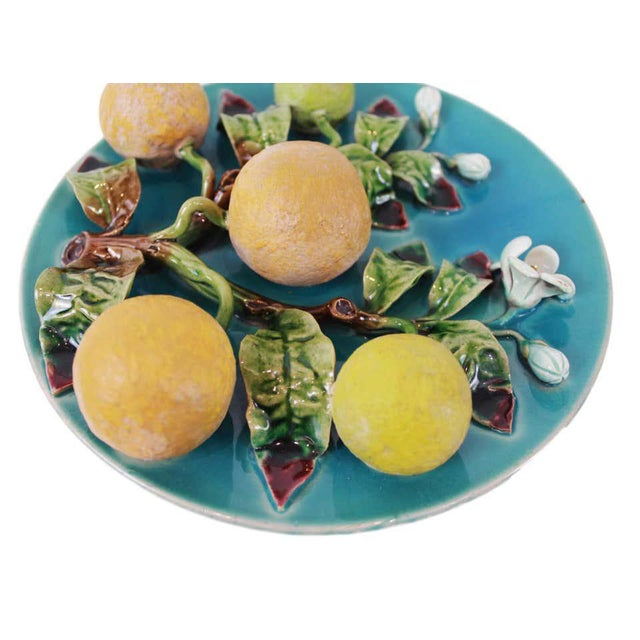 Late 19th Century Menton French Majolica Wall Plaque on a Turquoise Ground With Oranges, Ca. 1880 For Sale - Image 5 of 10
