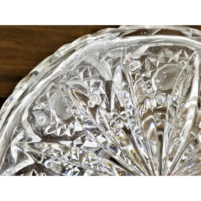Metal Mid 20th Century Vintage Hour Glass Lead Crystal Hand Cut Decanter For Sale - Image 7 of 11
