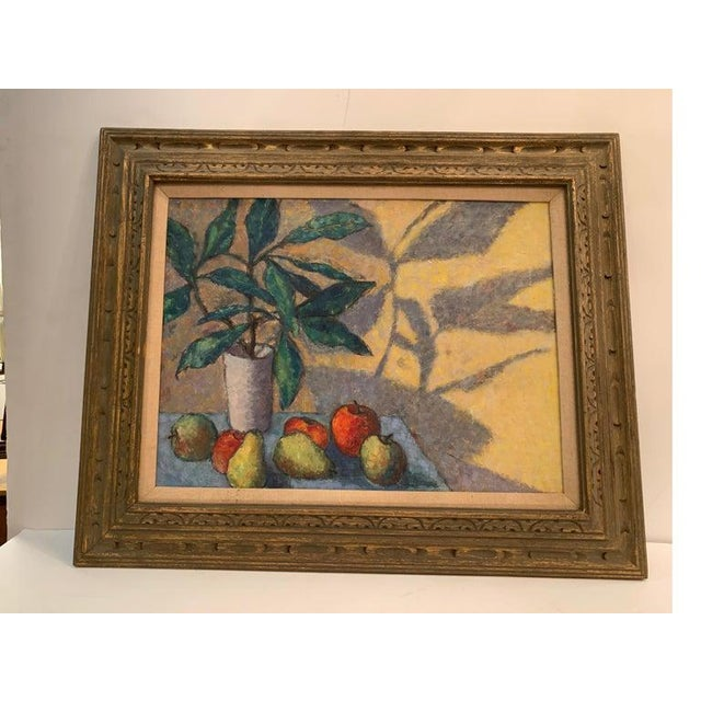1940s Mid-Century Modernist Still Life Oil on Canvas Painting For Sale - Image 5 of 10