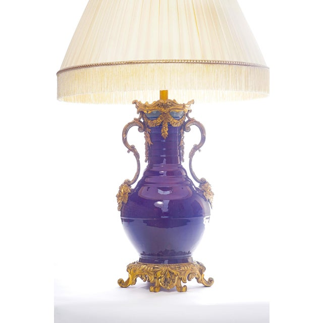 19th C. French Doré Bronze Mounted Chinese porcelainLamp With Custom Silk Shade For Sale - Image 4 of 5