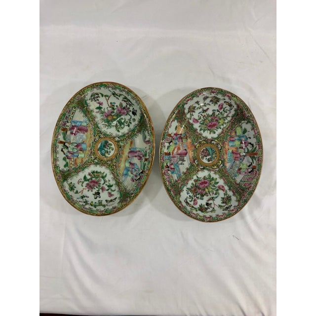 Antique Rose Medialion Oval Plates on Stands - a Pair For Sale - Image 4 of 11