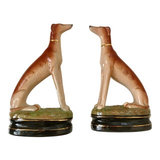 1970s Figurative Fitz and Floyd Whippets Figurines - a Pair