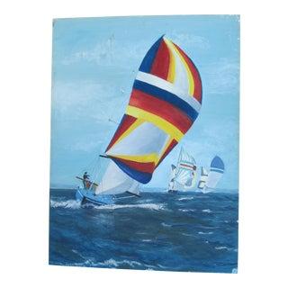 Vintage Acrylic Painting of Sailing Regatta